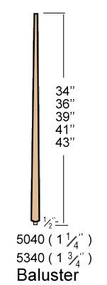 Contemporary Tapered Pin Top Baluster